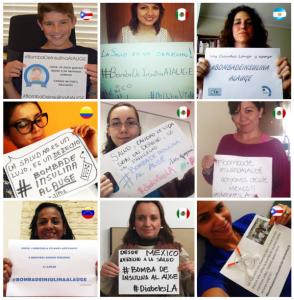 Algunos miembros de la comunidad #diabetesLA mostrando su apoyo al movimiento chileno. Recopilación elaborada por Carolina Zárate.